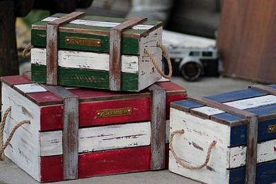 빈티지 우드 박스 Vintage Wood Box (블루M)