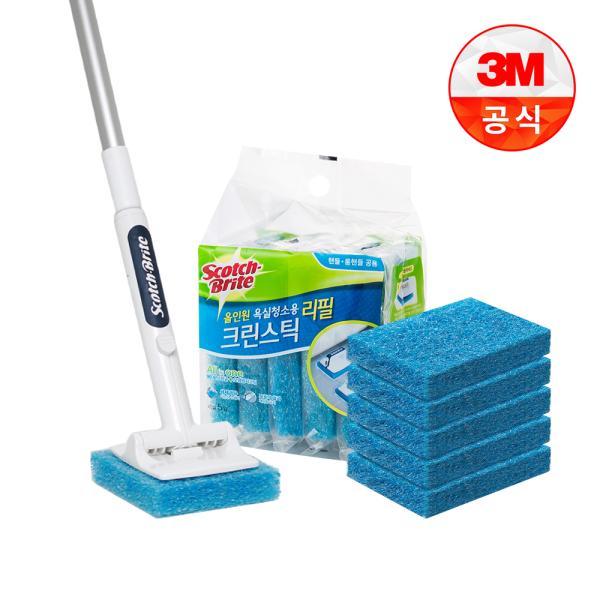 [3M]크린스틱 뉴올인원 욕실청소용 롱핸들+리필 6입