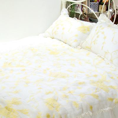 린넨 흰바탕에 노란자수 이불