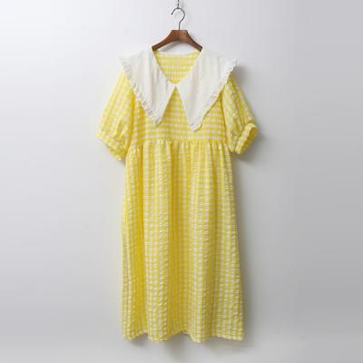 White Sailor Puff Check Long Dress