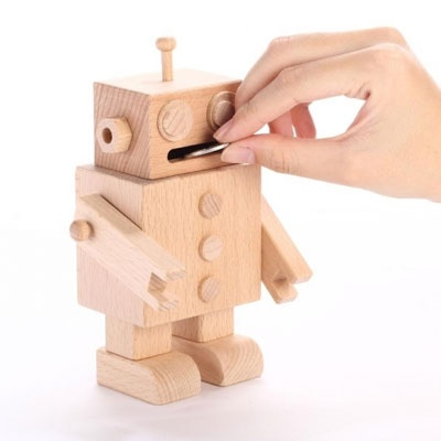 [CARPENTER] MR MANY WOODEN ROBOT COIN BANK