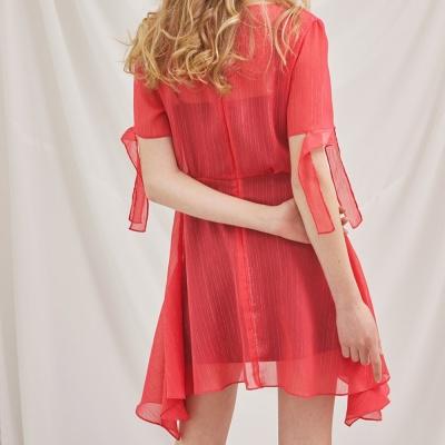 사이드 러플 스트링 드레스_핑크
