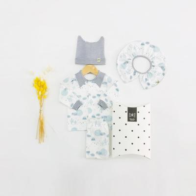 [메르베] 푸른사막 신생아 출산선물세트(내의+모자+턱받이)_사계절용