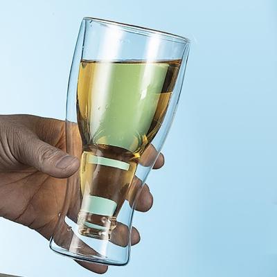[로하티]거꾸로 병맥 이중유리 맥주컵/ 내열유리잔
