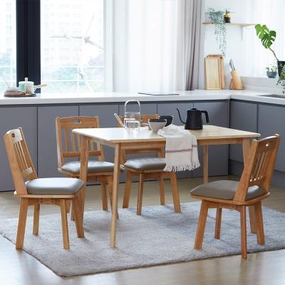[리비니아]캔버 노블회전의자 4인 원목식탁세트