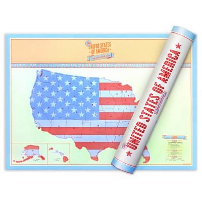 [원더스토어] 럭키스 스크래치 맵 미국 (소형사이즈) Scratch Map USA Travel Edition