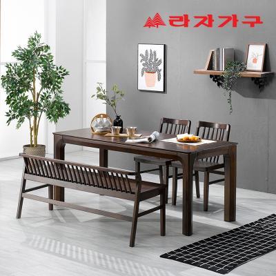 미농 고무나무 원목 와이드 식탁 세트 4인용 벤치형 B
