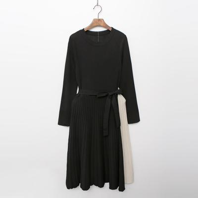 Combo Knit Pleated Dress
