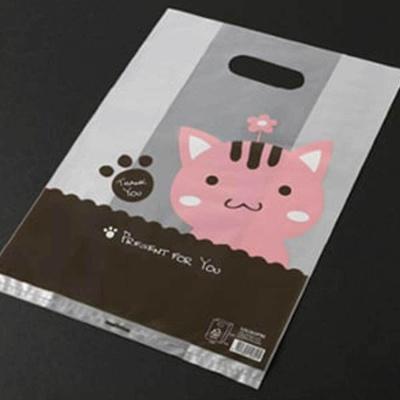 러블리 핑크 고양이 그림 비닐백 팬시 선물 포장
