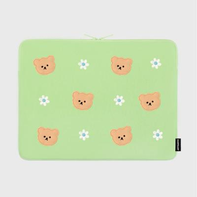 Dot flower bear-mint-15inch notebook pouch