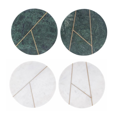 [House Doctor]Plate Marble green marble 2 prints round 원형 대리석보드