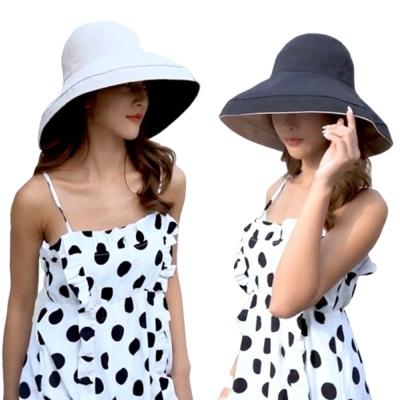 여성 여름 휴가 바캉스 챙넓은 햇빛 차단 양면 모자