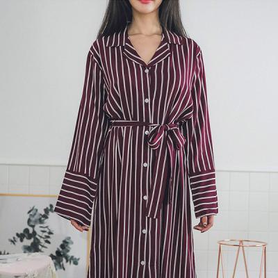 [쿠비카]레이온 스트라이프 오픈 셔츠형 여성잠옷W245