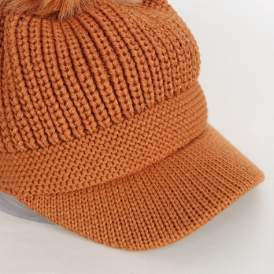 [디꾸보]방한 니트 꽈배기 방울 캡 모자 AC487