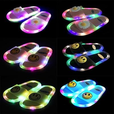 LED 라이팅 불빛 반짝이 슬리퍼 스마일 플라워 신발