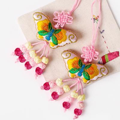 산호색 나비 매듭끈 (2개)