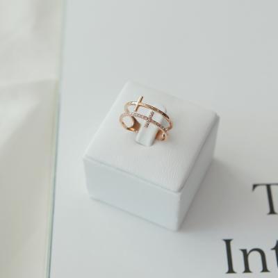 14K 투윈 십자가 큐빅 반지
