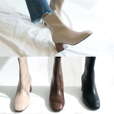 [애슬릿]안감 퍼 스퀘어 여성 앵클 부츠 5.5cm