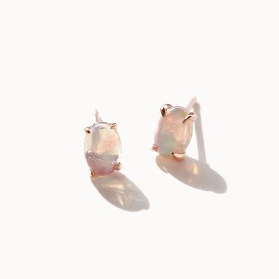 제이로렌 01M01945 10월탄생석 오팔 타원 실버 귀걸이
