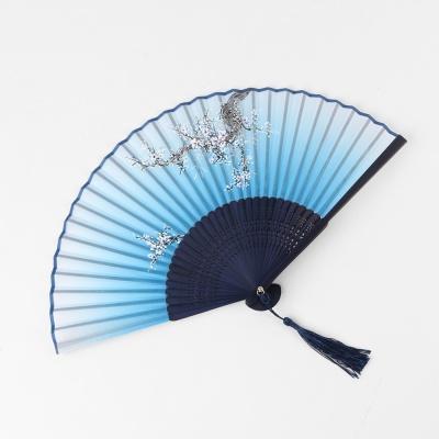 다홍 대나무 접이식 매화 부채(블루)