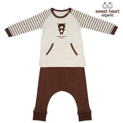 [12개월-36개월용]오가닉 브라운곰 캐릭터 상하복