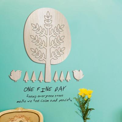[우드스티커] 어느멋진날 (반제품) - 입체우드 월데코 포인트 우드스카시 벽장식