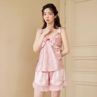 [쿠비카]바스트 셔링 딸기 캐미솔세트 여성잠옷 W572