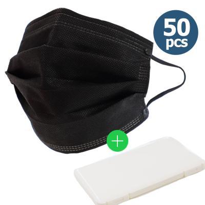 일회용 마스크 3겹 블랙 50매 성인용 + 케이스 증정