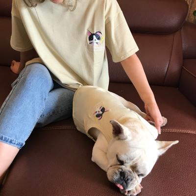 강아지커플룩 견주 올인원 여름옷 실내복 나시 애견