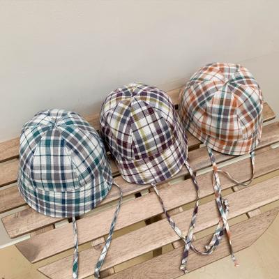 체크 숏챙 턱끈 벙거지 모자 3color