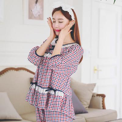[쿠비카]3단 레이스 체크 5부 투피스 잠옷 W017