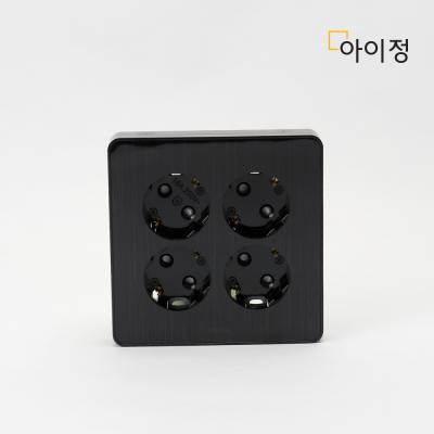 하이콘 블랙 4구 매립콘센트 커버