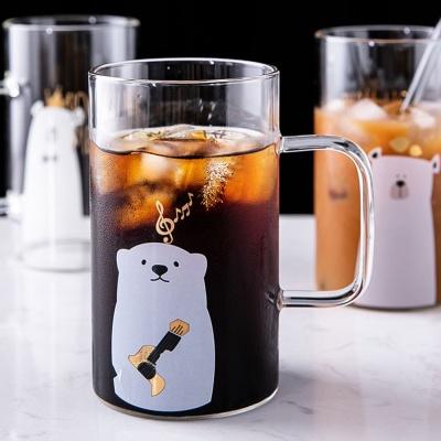 [로하티]기타치는 곰 유리컵(600ml)/ 주스잔 투명컵