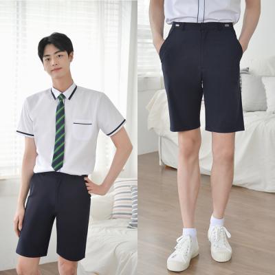 [허리조절] 스판 네이비 교복 반바지(남자)