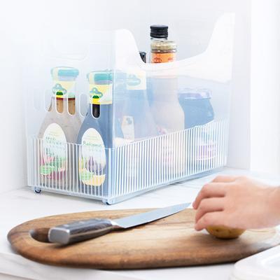 투명 냉장고 손잡이 다용도 소품 수납 정리함 (중)