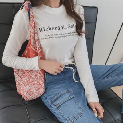 여성 여자 데일리 긴팔 티셔츠 앤 리차드 라운드셔츠