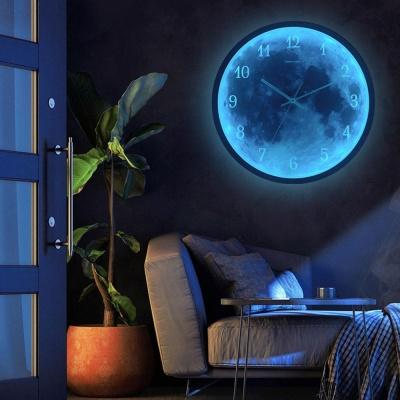 북유럽 LED 달빛 인테리어 벽시계 무소음