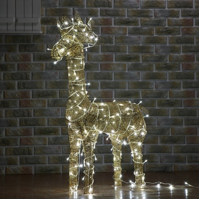 100cm 크리스마스 LED 골드 반짝이 사슴 장식 (대)