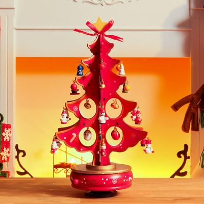 빨강 십자형 오르골 크리스마스 트리(33cm)