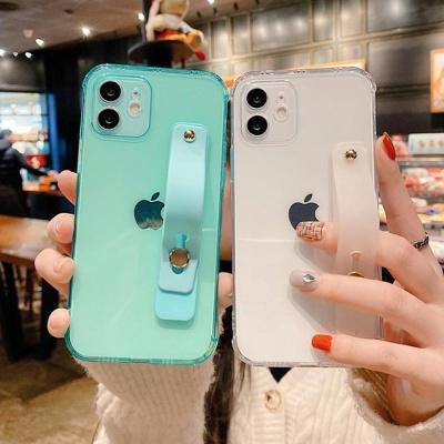 아이폰11 PRO MAX 투명 컬러 폰 스트랩 실리콘 케이스