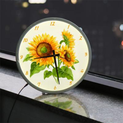 ng207-LED시계액자35R_풍수행복의해바라기