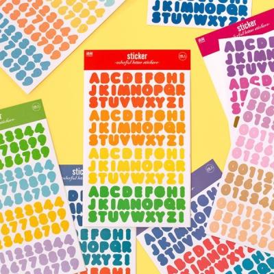 화려한 컬러 영문 숫자 4색 스티커 2장세트 다꾸용품