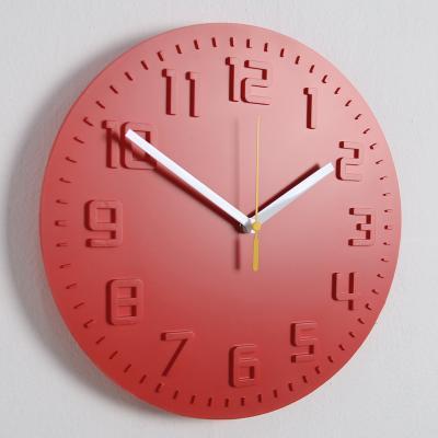 모던 칼라 저소음 벽시계 (레드) 벽 시계 추카