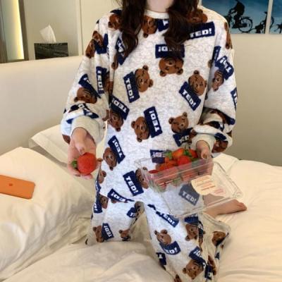 테디 수면잠옷 여성 겨울 극세사 수면 바지 잠옷세트