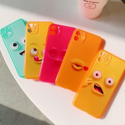 아이폰11 pro max 코믹표정 캐릭터 네온 젤리 케이스