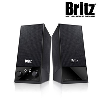 [브리츠] 스피커 BR-Twiin Q (2채널 / USB전원 / MDF재질 / 마이크&이어폰 단자 / 전원스위치 & 볼륨조절)