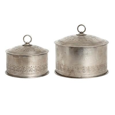 [Hubsch]Storage box w/lid & cutting, round, antique, metal 스토리지박스