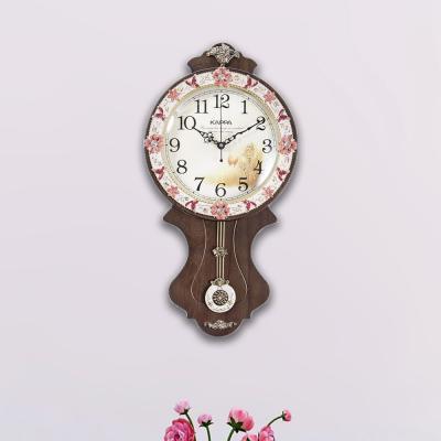 카파 무소음 P54 브라운 꽃장식 인테리어추벽시계