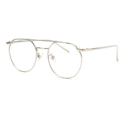 shine 두줄 실버 육각형 안경 금속테안경 메탈안경