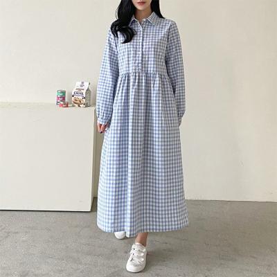 Gingham Shirt Long Dress
